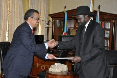 H.E. Salva Kiir and Ethiopian Foreign minister