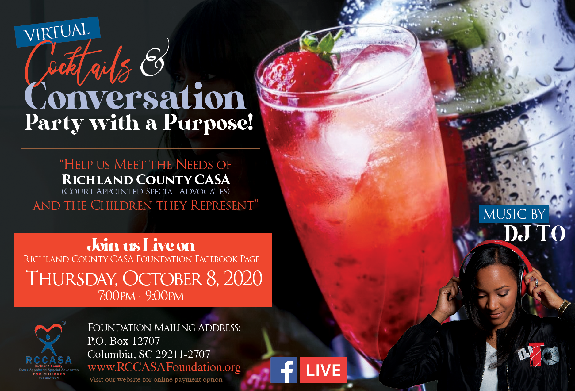 Cocktails & Conversation Party with a Purpose - Oct 8