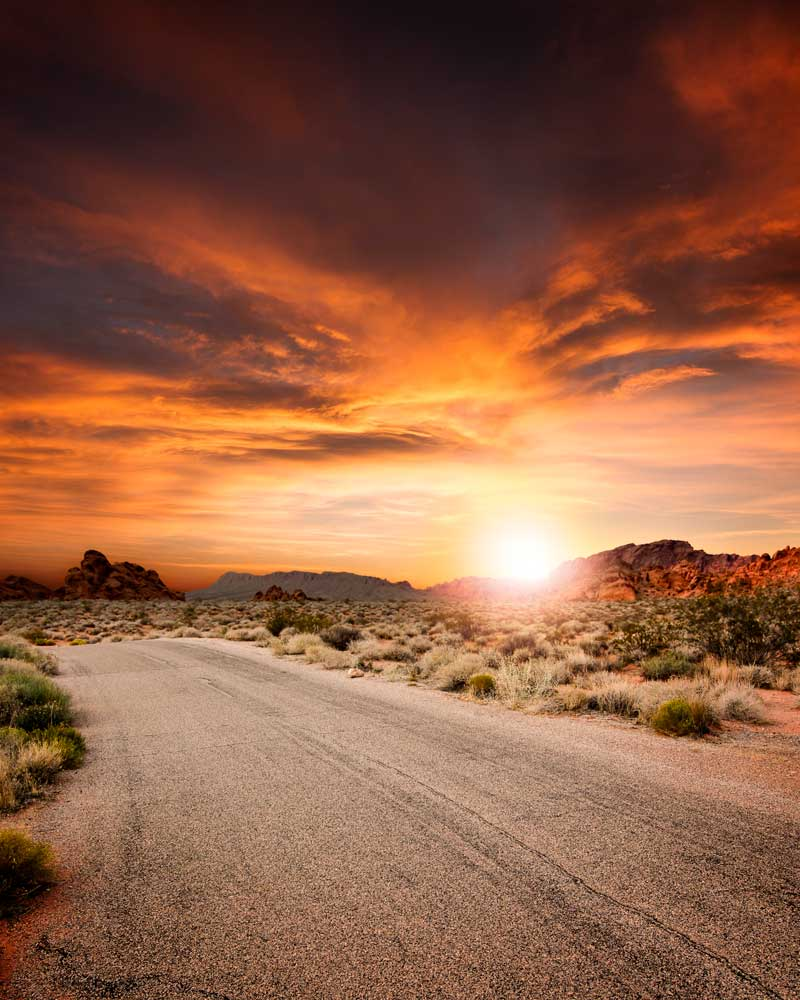 desert sunset on road