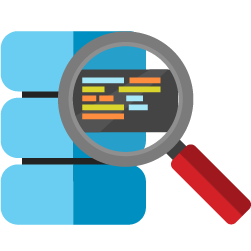 database with magnifying glass