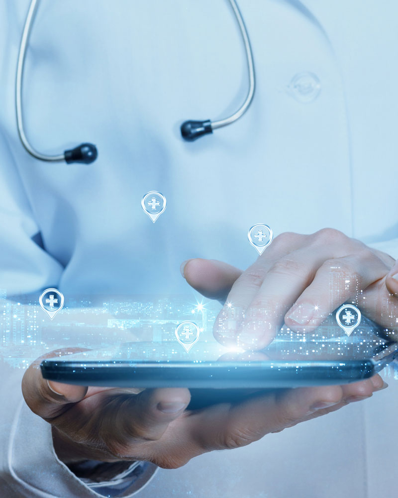 doctor with tablet and representation of data