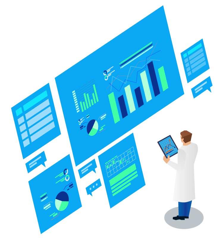 man monitoring data