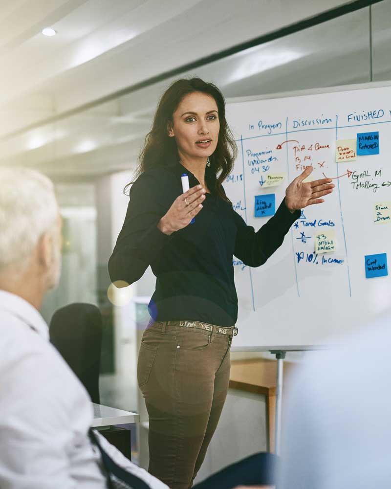 business woman at whiteboard presenting