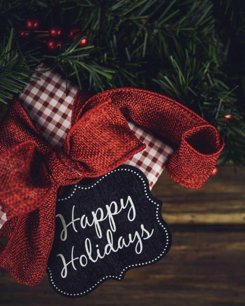 happy holidays bow