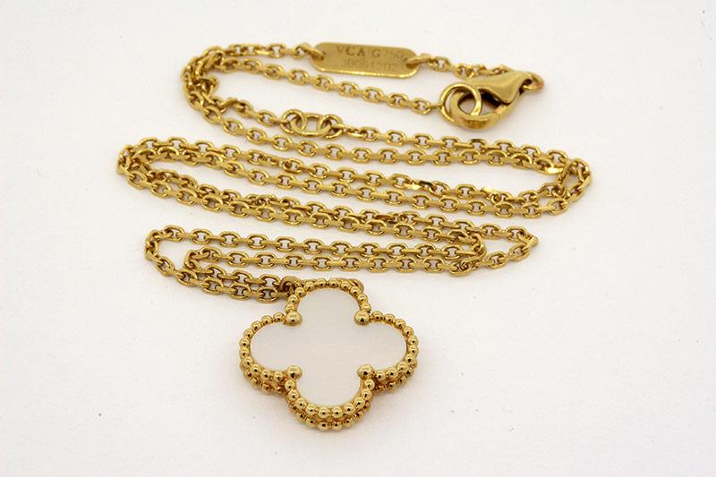 18k Gold Van Cleef Mother of Pearl Pendant