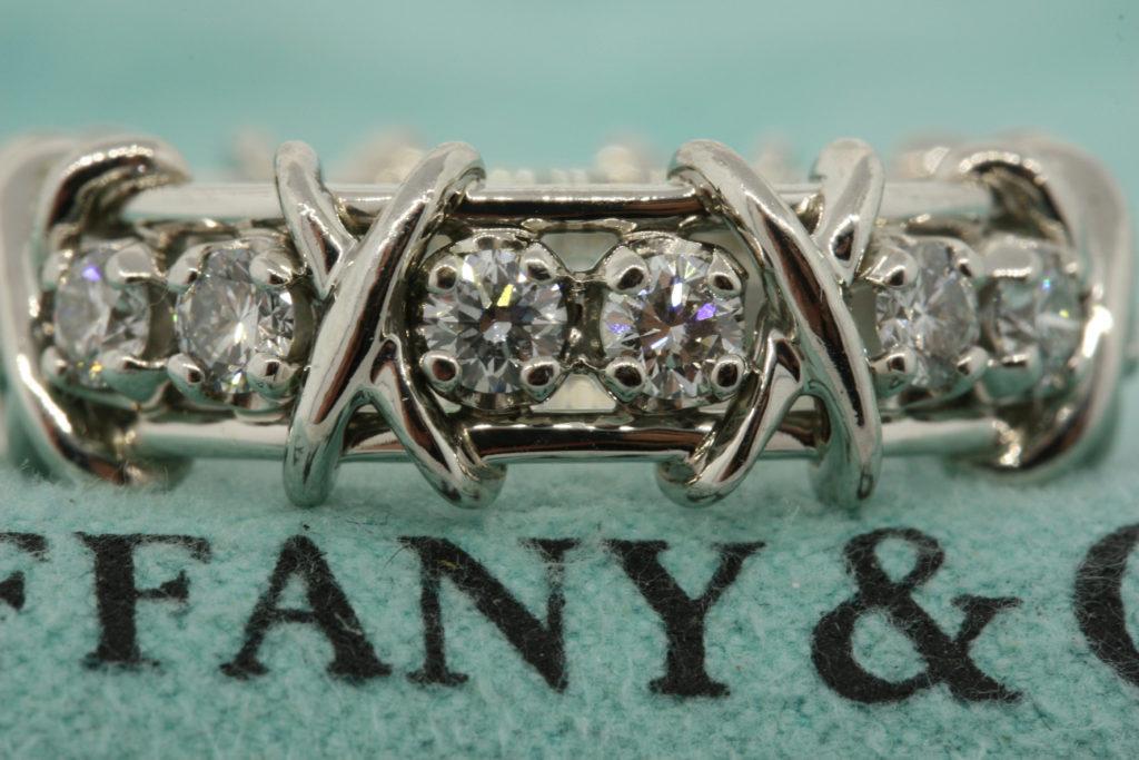 Schlumberger Platinum Diamond X band ring