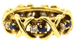 Tiffany & Co. Schlumberger Diamond Sapphire 16 stone X ring