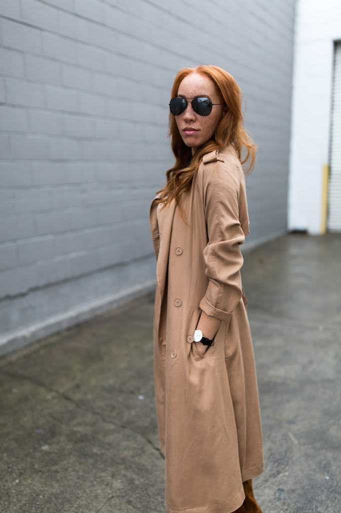 WHO WHAT WEAR DRAPPY TRENCH COAT
