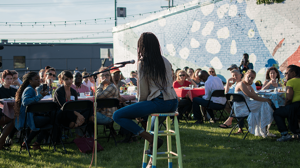 Nyamuon Nguany Machar (AKA— Moon) Reads a poem she wrote for a Welcome Feast Dinner (2019)