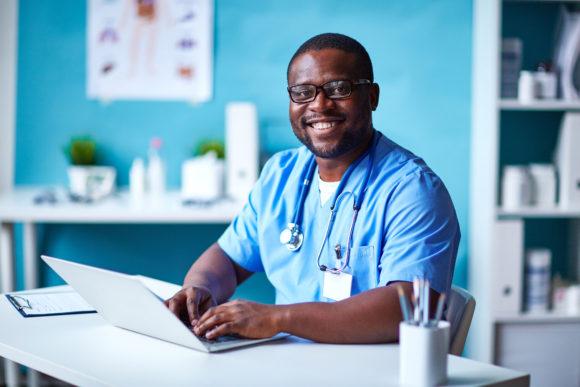 modern doctor in uniform.