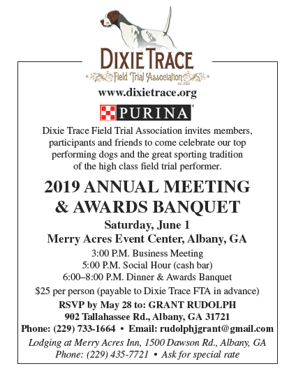 DIXIE TRACE FIELD TRIAL ASSOCIATION ANNUAL MEETING & AWARDS BANQUET