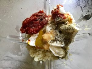 All ingredients in blender for Meatballs in Cauliflower Dill Cream Sauce. #meatballs #swedishmeatballs #familydinner #easydinner #dinner #healthydinner