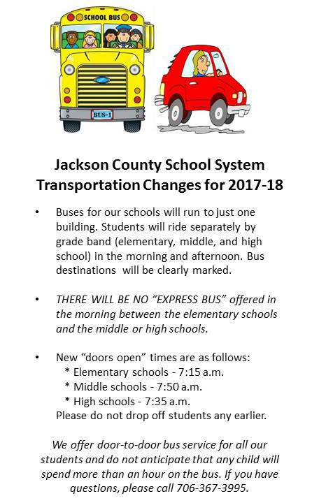 Transportation Changes 2017-2018