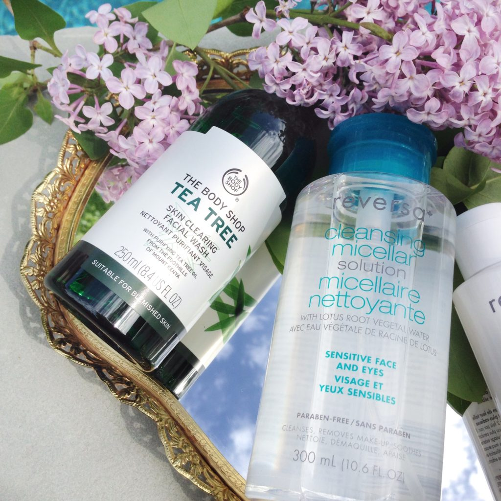 Body Shop Tea Tree Skin Clearing Facial Wash, Reversa Cleansing Micellar Solution
