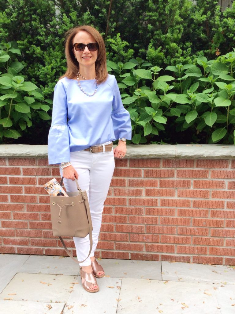 Bell Sleeve Top from Banana Republic; Furla Stacy Bucket Bag