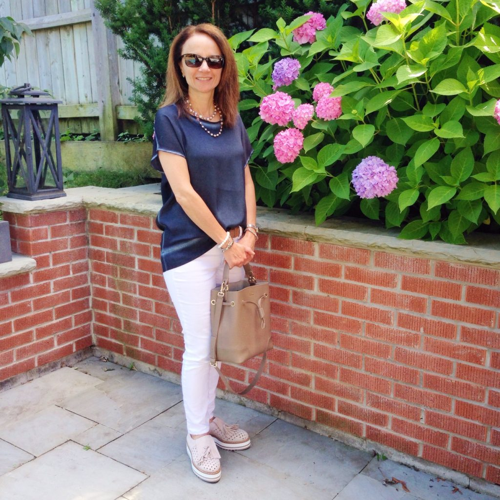 Repeat Cashmere Top; Marc Cain Lug Soles; Furla Stacy Bucket Bag