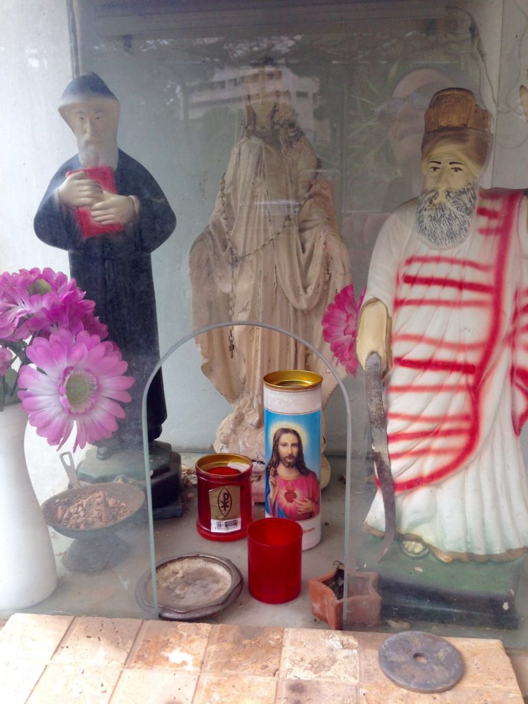 Mini shrine dedicated to Saint Sharbel, the Virgin Mary, Saint Elias, on private property