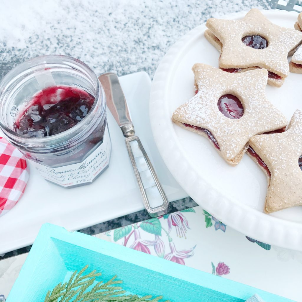 Linzer Cookies filled with Black Cherry Spread from Bonne Maman