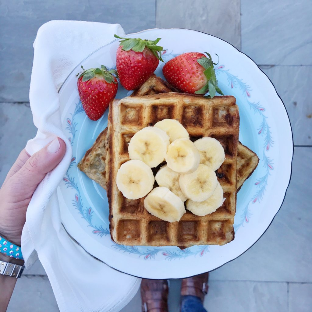 Strawberry Banana Oatmeal Waffles