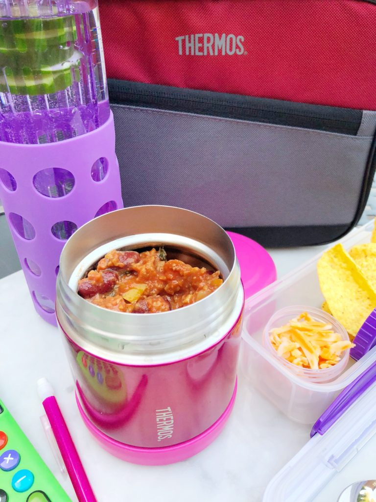 Hot lunch combo with Thermos + Locksy box for keeping chips intact