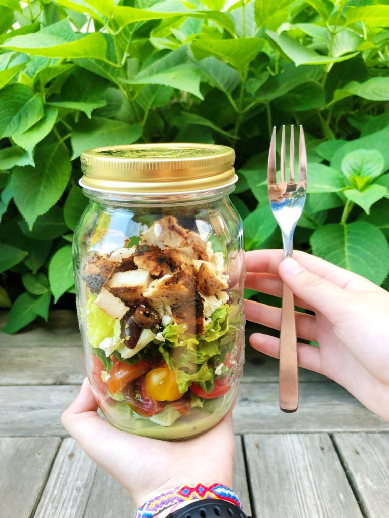 Chicken Greek Salad in a jar