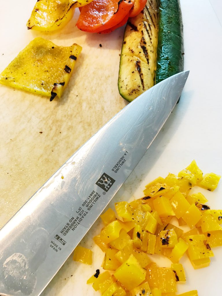 Making Tomato Bruschetta using a Henckels' chef's knife