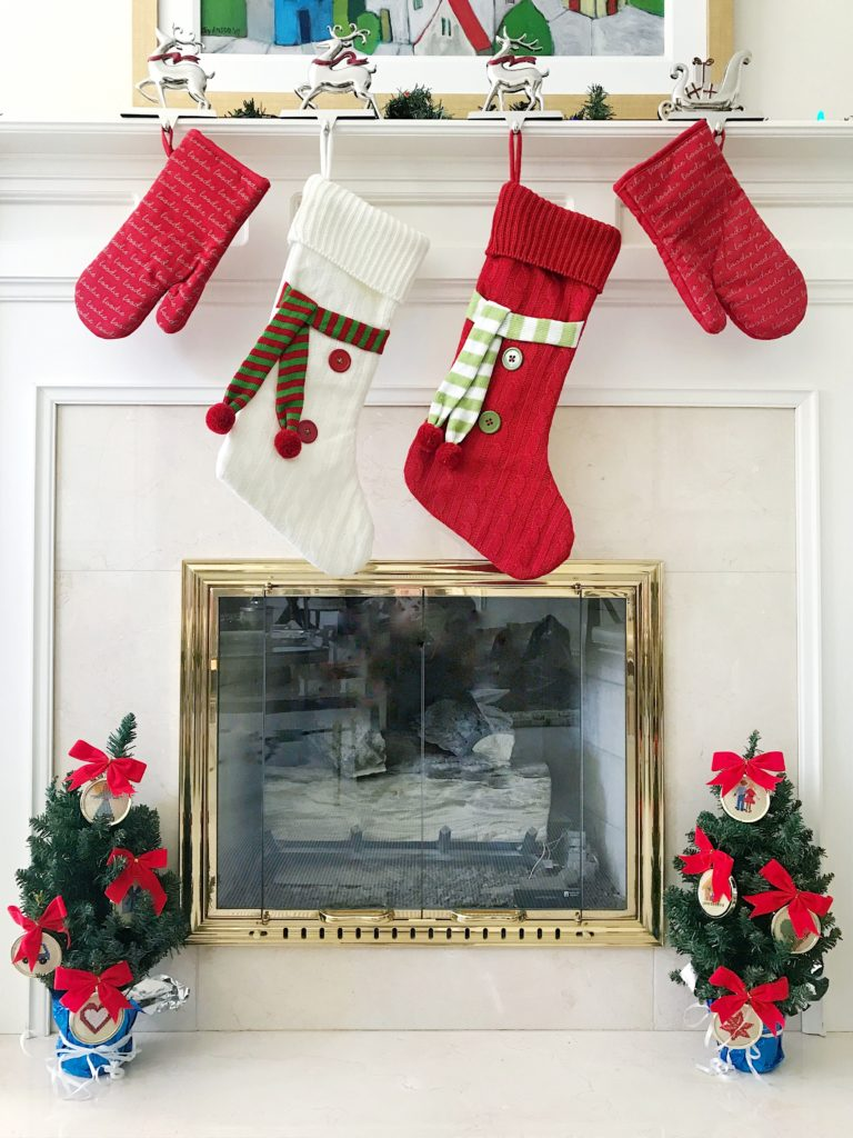Red & White Knit Christmas Stockings