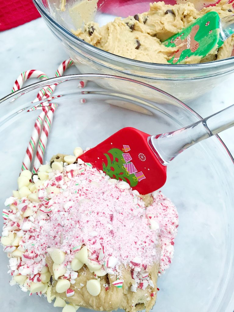 Candy Cane Chocolate Chip Cookies
