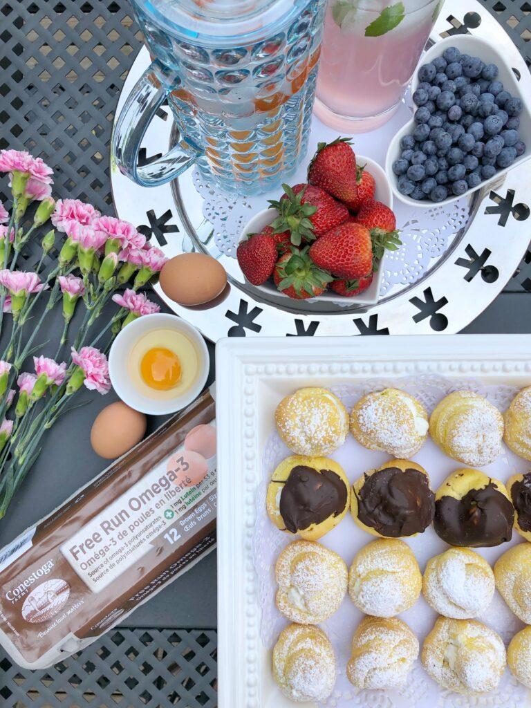 Homemade Cream Puffs Using Conestoga Farms Free Run Omega-3 Brown Eggs