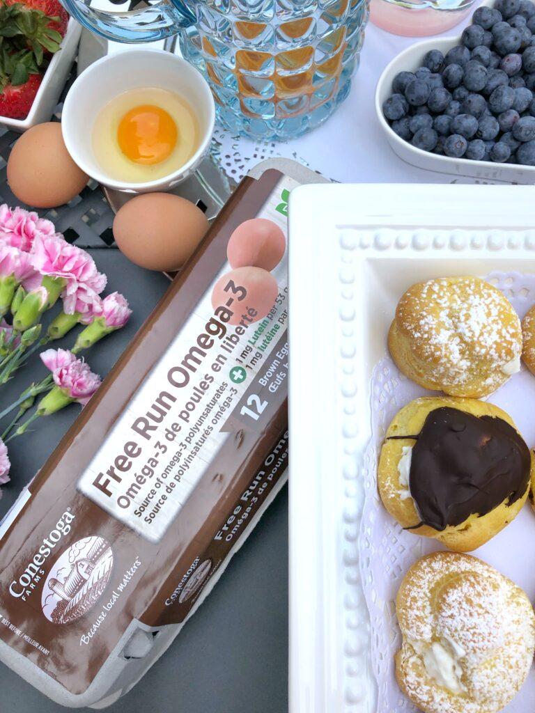 Homemade Cream Puffs Using Conestoga Farms Free Run Omega-3 Eggs