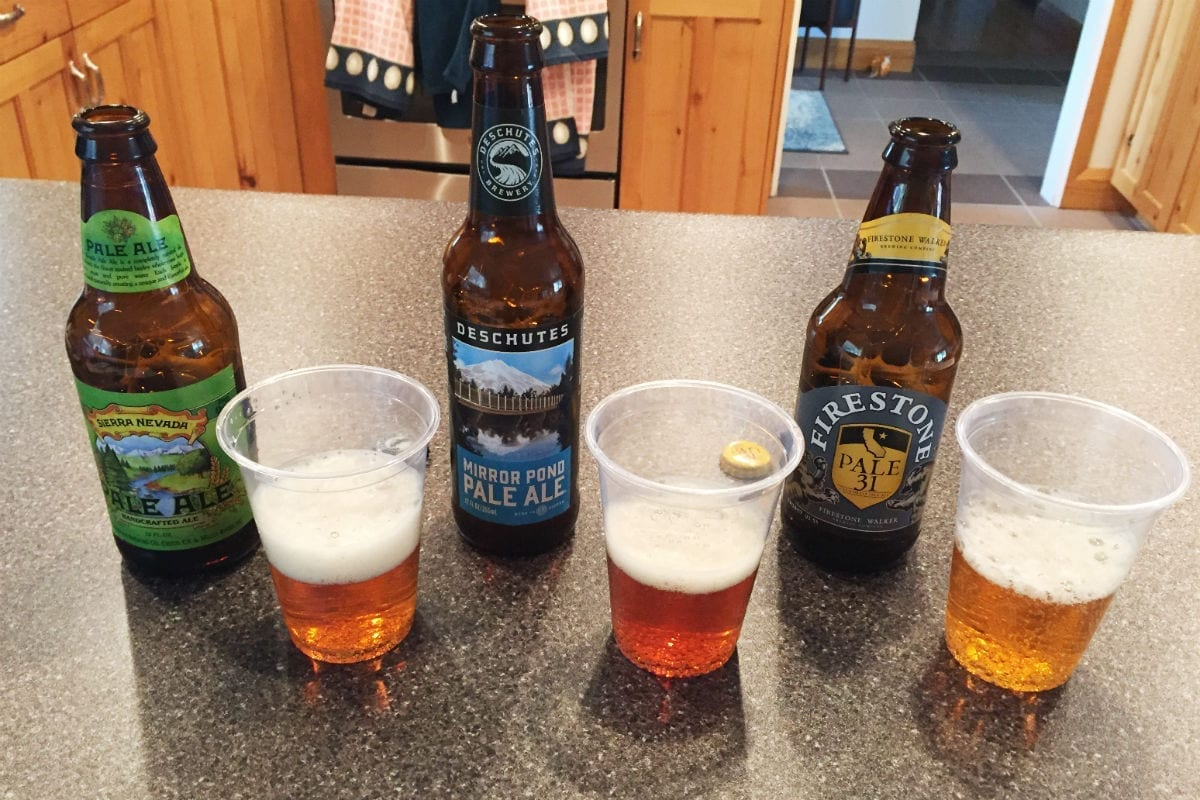 """Line 'em up"" involves evaluating several beers of the same style side by side."