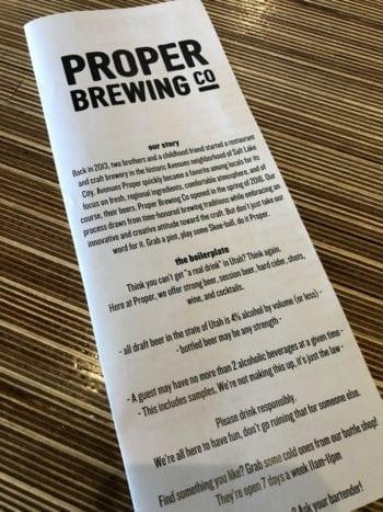 Parva Tropicae Menu - Proper Brewing - Beer Tastings