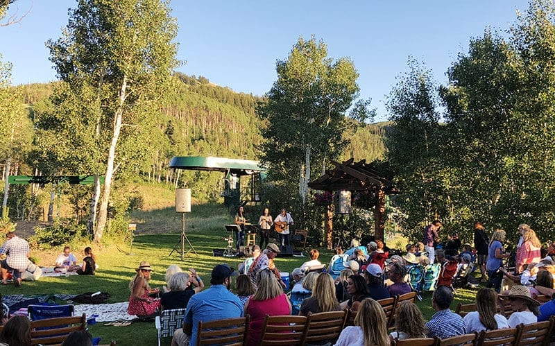 Free live music accompanies the food and beer pairings at Stein Eriksen Lodge's Hops on the Hill.