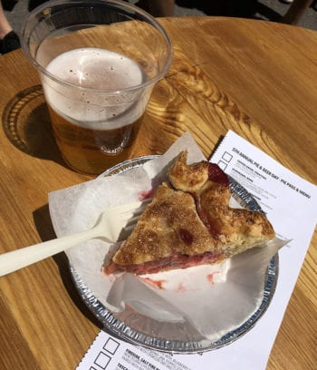 A. Fisher Brewing Co. paired its Rye Cream Ale with Tradition's strawberry rhubarb pie.