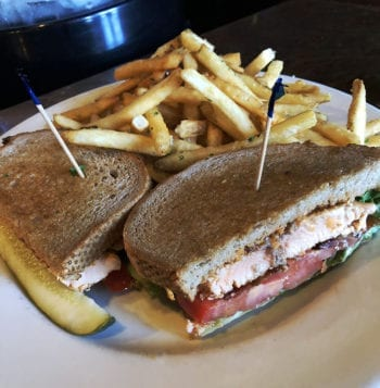 The lunch-special BLT with blackened salmon and a side of garlic fries is a favorite of mine.