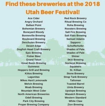 Utah Beer Festival 2018 - Brewery List