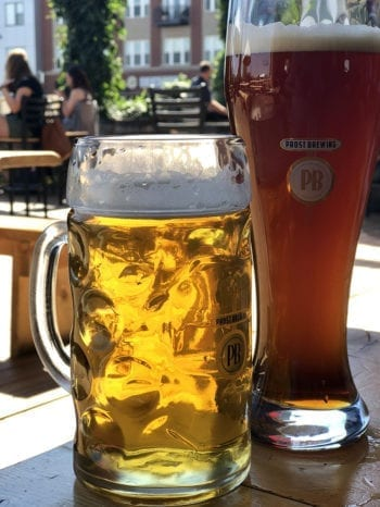 We enjoyed a Helles (left) and a Dunkelweizen at Prost Brewing — a day before the start of Oktoberfest.