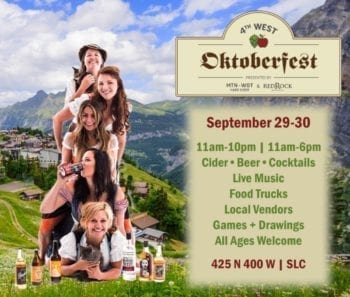 The 4th West Oktoberfest takes place Sept. 29-30, 2018. Prost! Photo Credit: Mountain West Hard Cider