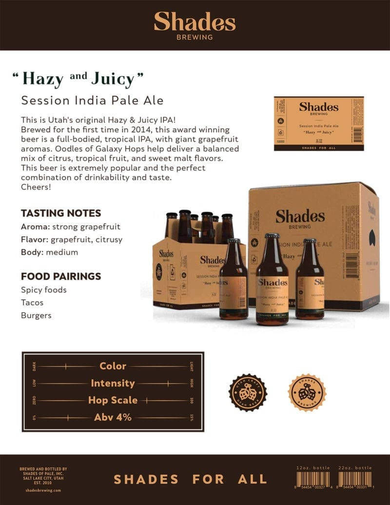 A Shades Brewing fact sheet offers details about the beer, as well as tasting notes and food pairings.