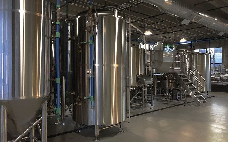 T.F. Brewing features a custom-made 15-barrel brewhouse.