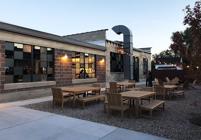 The spacious patio at T.F. Brewing is a comfortable spot to enjoy a pint of beer.