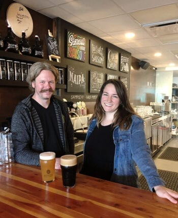 Chad Hopkins, brewer, and Alicia Border, bar manager, at Hopkins Brewing Co.
