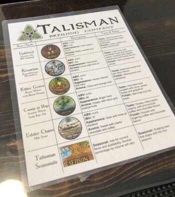 The Talisman Brewing tap list when Utah Beer News visited in June 2019.