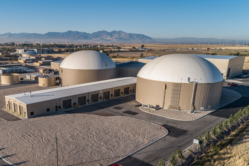The Wasatch Resource Recovery facility in North Salt Lake. Anaerobic digesters can each hold 1.5 million gallons of material. Photo Credit: Wasatch Resource Recovery