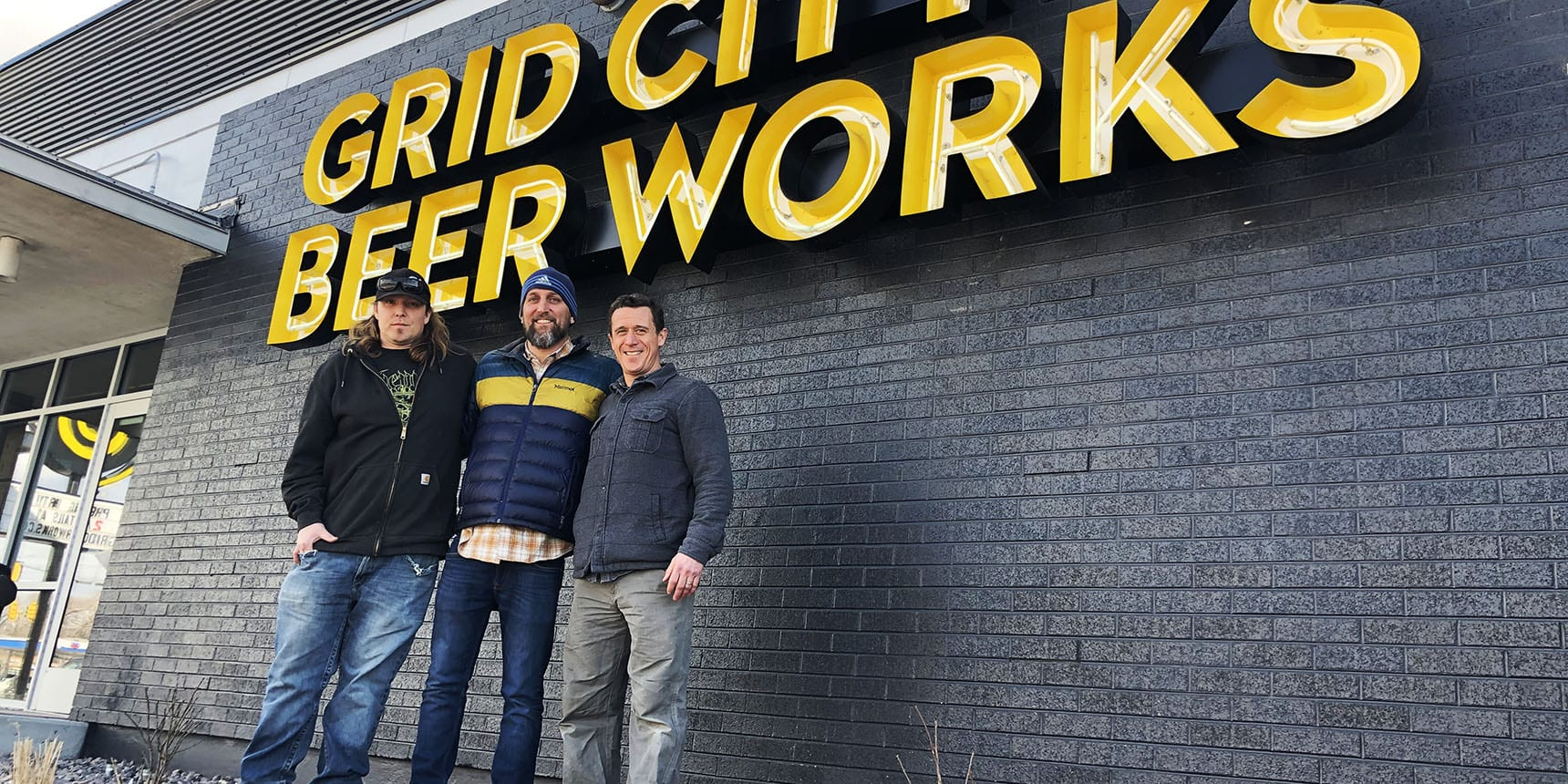 Grid City Beer Works. From left: Jeremy Gross, head brewer; Drew Reynolds, CEO; Justin Belliveau, president