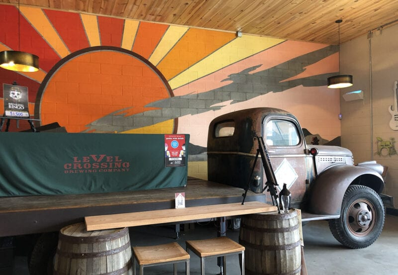 Dallas Alice, a 1946 Chevy farm truck that doubles as a stage inside the Level Crossing Brewing taproom.