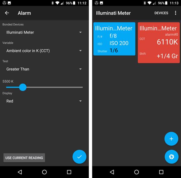 New Alarm Functions for your Illuminati Light Meter