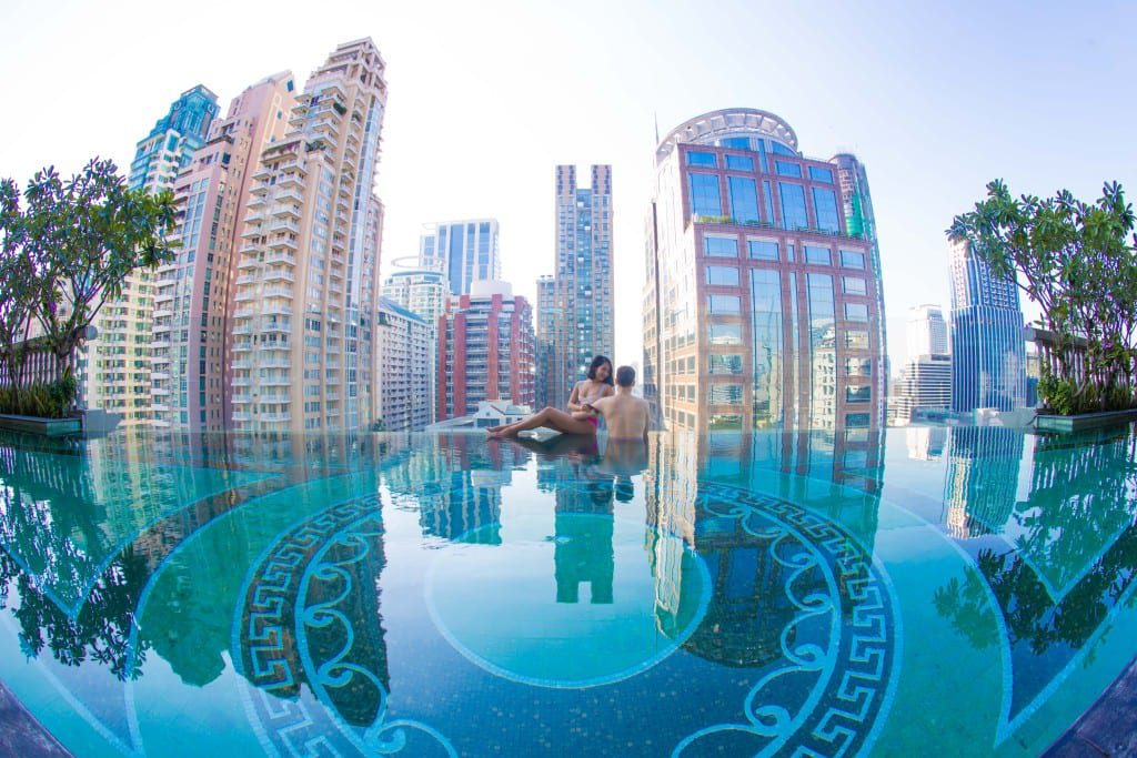 Couple at Hotel Muse Pool Bangkok Thailand