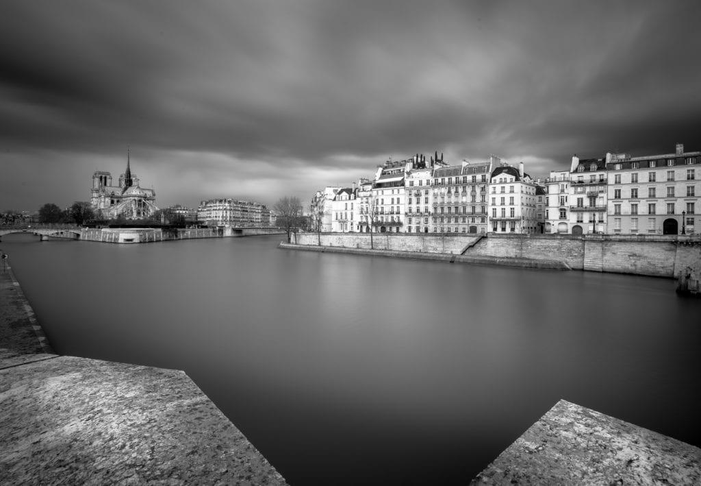 Paris, Black and White, Long Exposure, Notre Dame