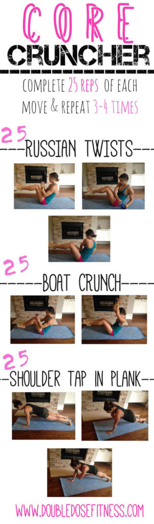 Core Cruncher- Three moves that can be done anywhere (no gym required)! to get the core tight and strong! | Double Dose Fitness